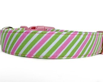 Pink and Green Dog Collar / Girl Dog Collar / Striped Dog Collar / Pink Green Collar / Preppy Dog Collar