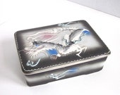 Dragon Ware Dragon Box Black Gray Asian Decor Dragonware Porcelain Trinket Box Hand Painted High Relief 1940s 1950s