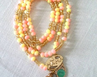 "Long ""MAMA"" charm necklace/ summer/spring/Mother's Day/ for good luck /ready to ship"