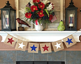 Patriotic Banner, July 4th Banner, July 4 Banner, July 4 Burlap Banner, 4th of July Bunting, Summer Banner, Red White Blue, 4 July