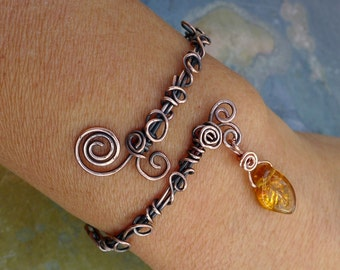 Wire Wrpped Antiqued Copper Bracelet ,Adjustable  Wire Wrapped bracelet,Copper Bangle/Cuff Filigree  bracelet Filigree Leaf  Vine Bracelet