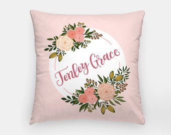 Pillow - Custom name - Blooms around - Pink