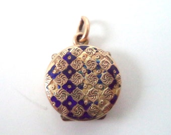 Antique Gold Filled Locket Blue Enamel Glass Frames