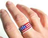American flag bead ring  Red white and blue patriotic ring  US flag jewelry 4th of July  Veterans Day Memorial Day Ring for Men