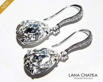 CLEAR Crystal Wedding Earrings Swarovski Rhinestone Teardrop Earrings Bridal Earrings Bridesmaid Jewelry Crystal Cz Silver Dangle Earrings