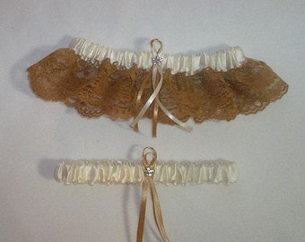 Ivory Cream Satin / Gold  Lace - 2 Piece Wedding Garter Set - 1 To Keep / 1 To Throw