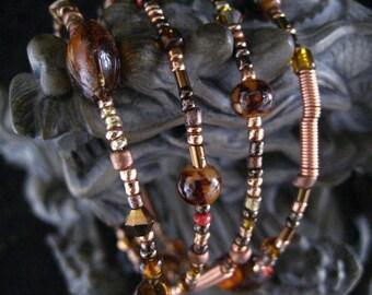 Mahogany and Copper Beaded Memory Wire Bracelet Multi Strand Wrapped Bracelet