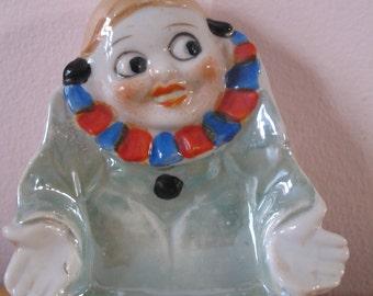 Vintage Lustreware Ashtray Clown, Pin Tray Catch All Dish, Japan Tobacciana