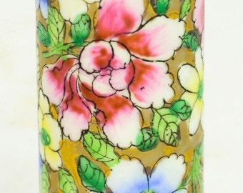 """Vintage Handpainted Chintz Floral Gold Gilding Porcelain  4"""" Cylinder Bud Vase"""