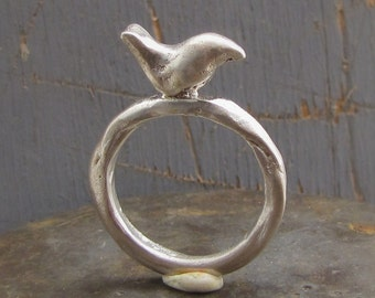Silver Bird Rind -  Bird Sterling Silver Ring - Natural Ring