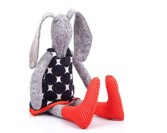 Softie rabbit ,Pure knitted silk stuffed bunny doll in black & white retro geometric dress, red socks - READY TO SHIP timo handmade eco doll