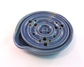 Draining Soap Dish - Soap Dish - Drain Tray - One Piece Soap Saver - Kitchen or Bath - Handmade Pottery - Pottersong - Denim Jeans Blue