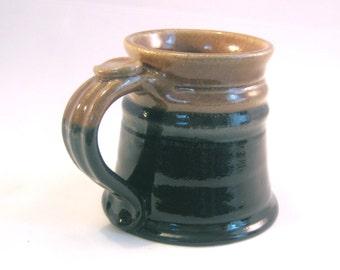 12 oz.Tankard, Stein, Coffee Mug - Handmade Pottery Glazed in Dark Cobalt Blue and Oatmeal