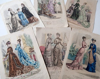 6 Antique French Fashion Plates  Originals Not Reprints