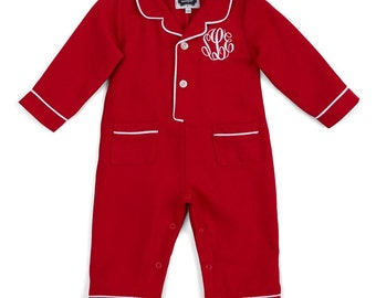 Infant Christmas pajamas, monogrammed Christmas pjs, baby boy sleepwear, baby girl Christmas sleepwear