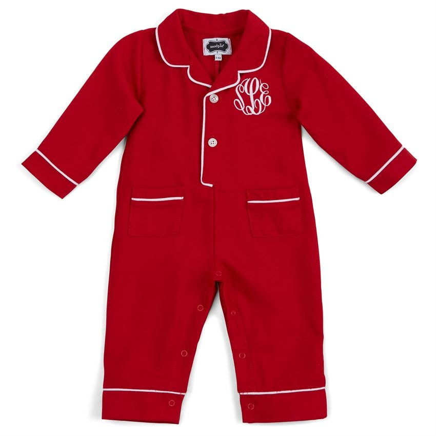 Infant Christmas pajamas monogrammed Christmas pjs baby boy