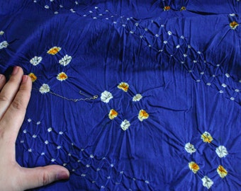 Blue and Yellow - Bandhani (Indian Tie-Dyed) cotton Fabric  (1.5 yard)