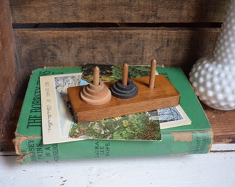Vintage Wooden Ring Toy Primitive Stacking Game Nursery Decor Boy Girl Bookshelf Display Vintage Toy Wooden Toy Primitive Toy Rings