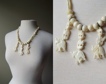 Vintage African Bone Necklace Carved Bone Necklace African Necklace Elephant Necklace Statement Necklace Boho Bohemian Necklace