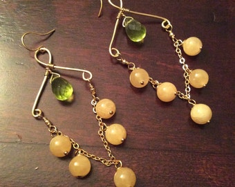 LEAHA Citrine & Green Jade Dangle Gold Earring