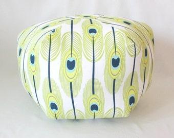 Feathers Floor Pouf / Green or Blue / Foot Stool / Floor Pillow / Ottoman / Floor Cushion / Fabric Stool / Dorm Decor / unique home decor