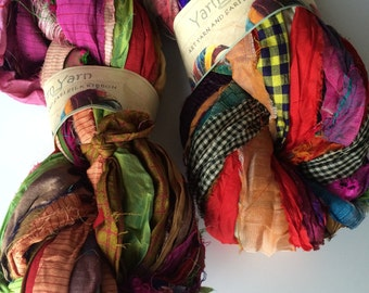 Recycled sari silk ribbon, large skein, rich quality premium silk sari ribbon in multicoloured tones. Unique vibrant sari silk art yarn.