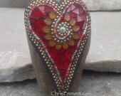 Mosaic Rock, Gardener Gift, Home Decor, Red Heart, Mosaic Garden Stone, Amber Flower