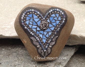 Sky Blue Angel Wing Heart, Paperweight, Garden Stone, Mosaic, Garden Decor