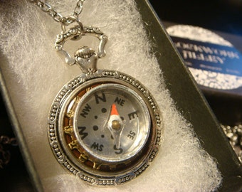 Working Compass Pocket Watch Style Pendant Necklace (2148)