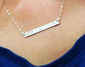 Long Silver Bar Necklace, Dainty Nameplate Necklace, GOLD, Rose Gold,  Personalized Initial Skinny Bar Necklace, Horizontal Pendant Bar