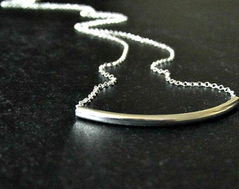 Sterling Silver Curved Bar Necklace | Curved Tube Necklace | Fine Silver Jewelry | Minimalist Jewelry | Bar Necklace