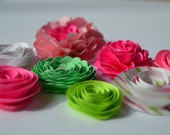 Pink and Green Handmade Paper Flower Mix
