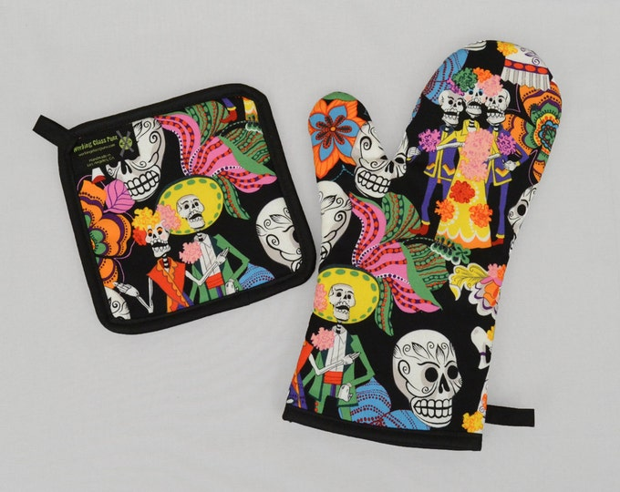 Bright and Colorful Day of the Dead Oven Mitt and Pot Holder Sets/Singles