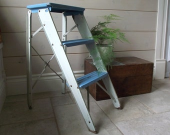 Metal Step Ladder , Folding Metal Step Stool  Blue and White Industrial Decor , Painters Step Ladder , Side Table , Repurposed Vintage
