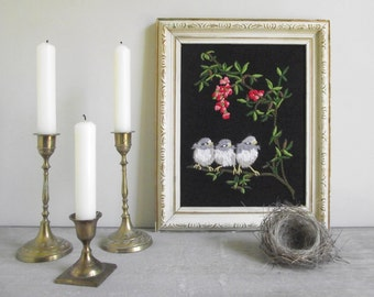 Framed Crewel Embroidery | Vintage Hand Stitched Needle Work Wall Hanging | Baby Birds Cherry Blossoms