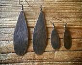 Copper Hammered Metal Earrings