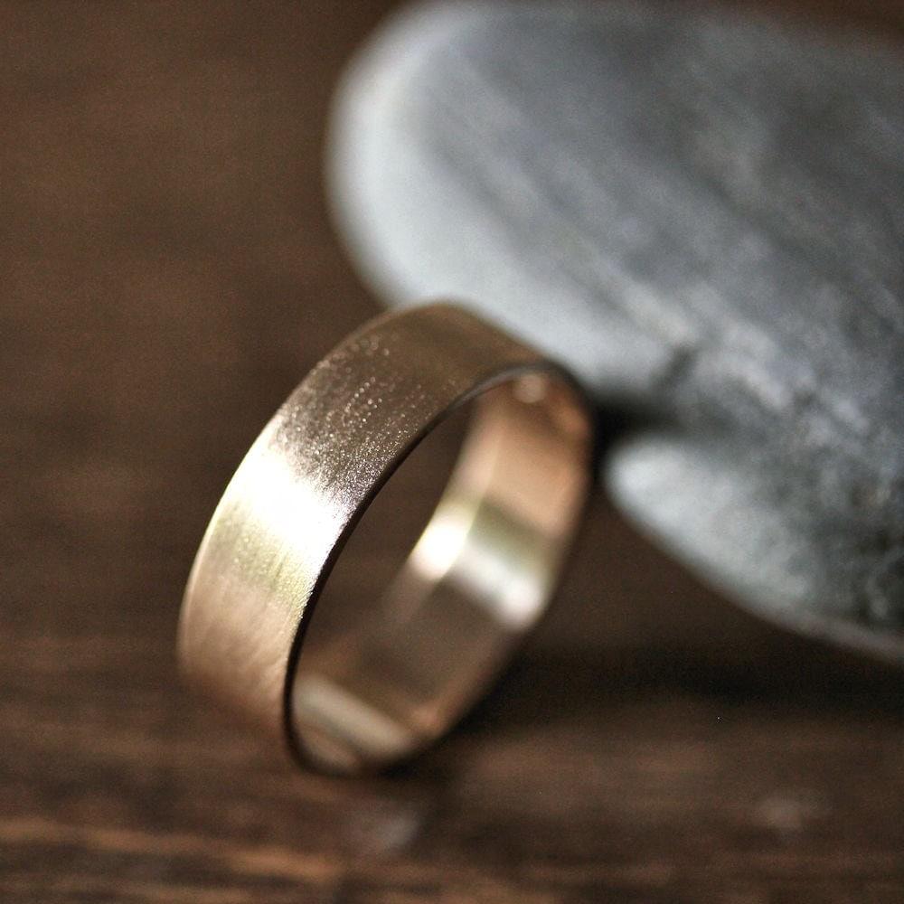 Gold Mens Wedding Band 6mm Wide Brushed Flat 14k