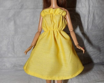 Solid bright yellow ruffle top sun dress for Fashion Dolls - ed867