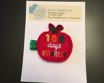 Felt Hair Clip- Embroidered 100th Day of School Hair Clip