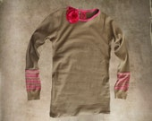 Pink tan top/Stripe cuff/Flower brooch removable/Long sleeve crew