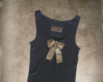 Black tank top/Sequence Bow front/Sleeveless women tee