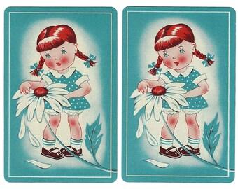 HE LOVES ME, He Loves Me Not, on Teal (2) Vintage Single Swap Playing Cards Paper Ephemera Scrapbook Supplies