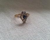 Valentines Day Sapphire diamond 14k white yellow gold antique vintage ring