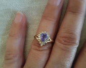Valentines Day Vintage Tanzanite diamond 14k gold ring