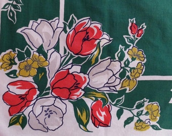 Vintage Simtex Green Red Gray Yellow Tulip Floral Tablecloth