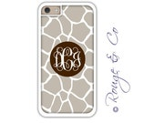 Monogram iPhone 6/6S * 6/6S PLUS * 5/5S * 5C personalized giraffe phone case in custom colors with monogram or name