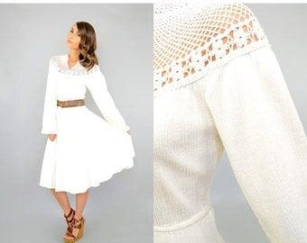 SUMMER SALE 70's Bohemian CROCHET Cotton Dress