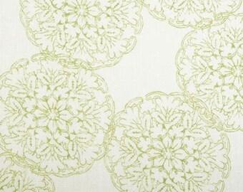 Danda Duralee green Wood Block Designer Pillow Cover, BOTH SIDES lemongrass green throw pillow, Suzani floral decorative pillow cover