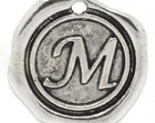 """Add On Initial """"M"""" Charm, personalized letter charm, monogram, Personalized Keychain, Personalized Necklace, antiqued silver plated charm"""