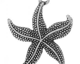 Silver starfish charms, charm bracelets - QTY 2. Antiqued silver. Starfish charms, add-on charms, Charm Pendants Starfish Antique Silver